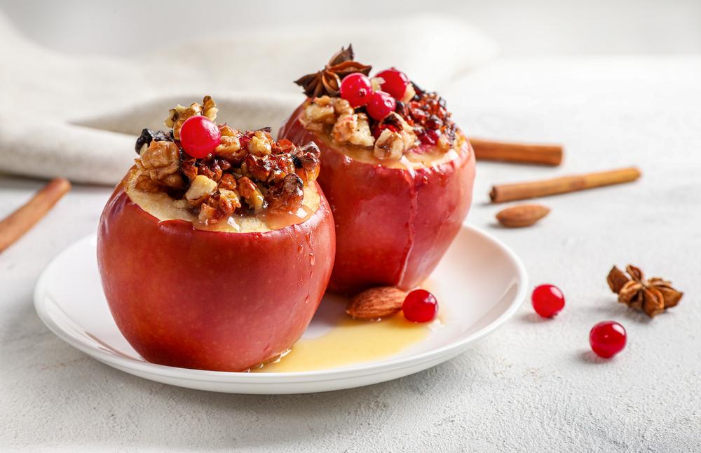 gefüllte bratäpfel mit vanillesauce